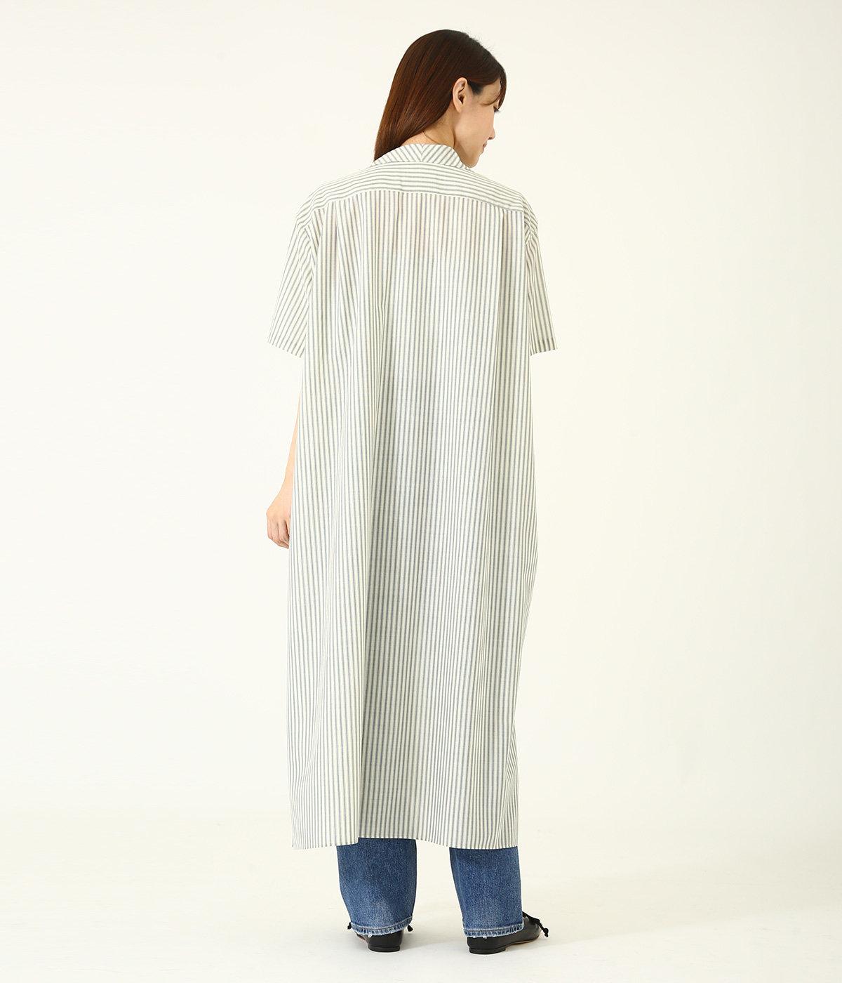 【レディース】wool voile stripe Wfaced shirt dress