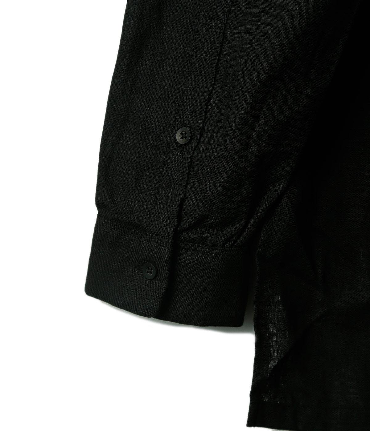 Black Linen Gradeners Shirts Mid