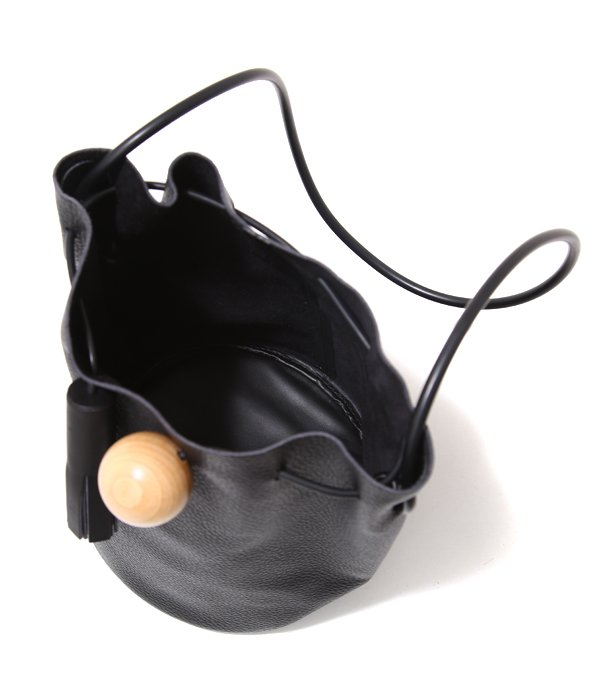 BUCKET-in Pebbled-Smooth Leather /Rubber Strap /Wood sphere-
