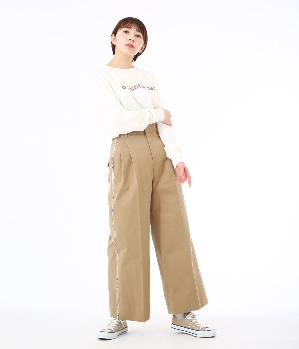 【レディース】selvedge logo chino  two tuck wide pants