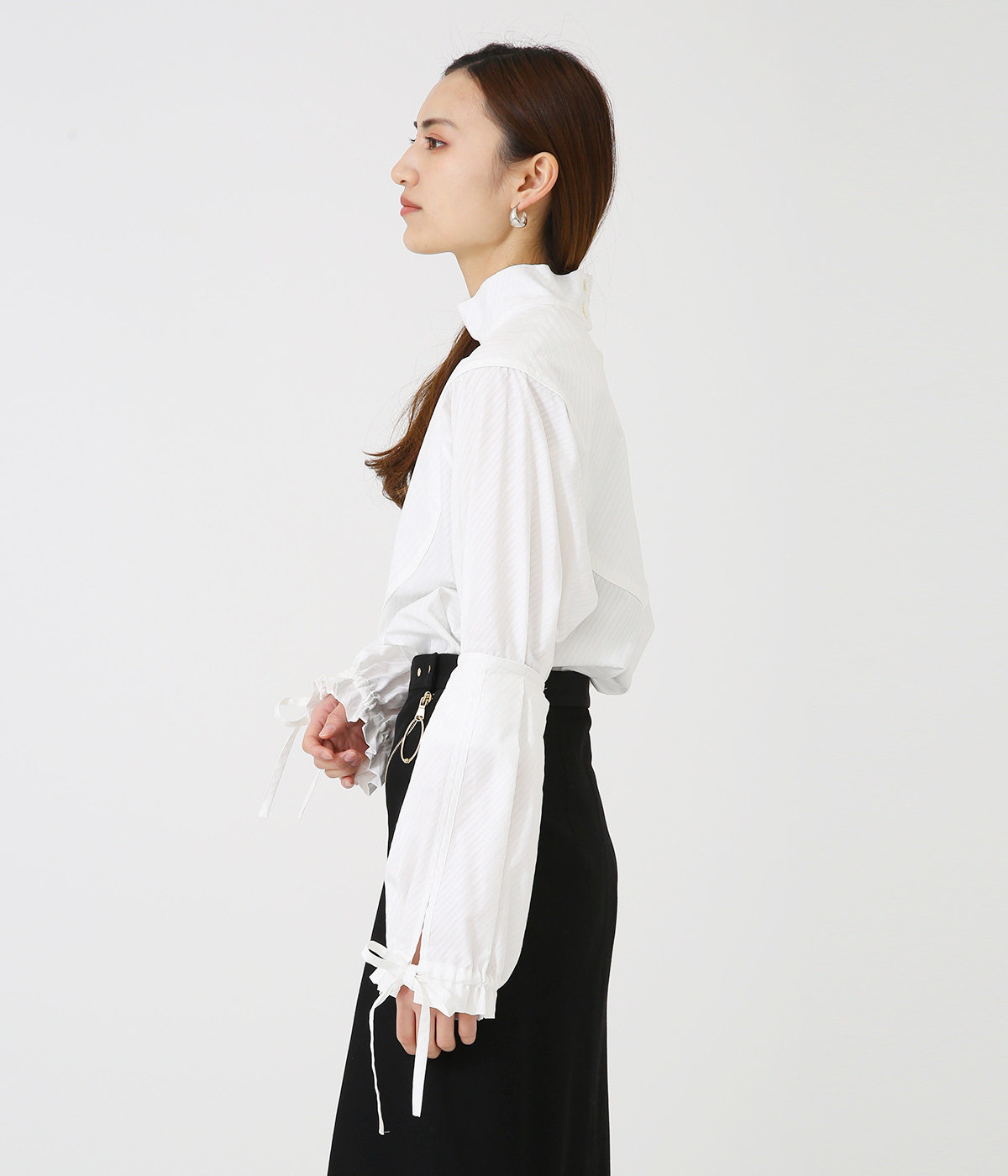【レディース】candy stripe gather sleeve blouse
