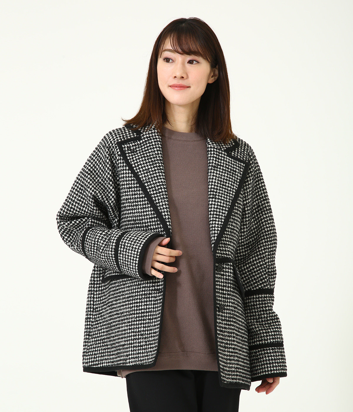 【レディース】MIX HOUNDSTOOTH LINE JACKET