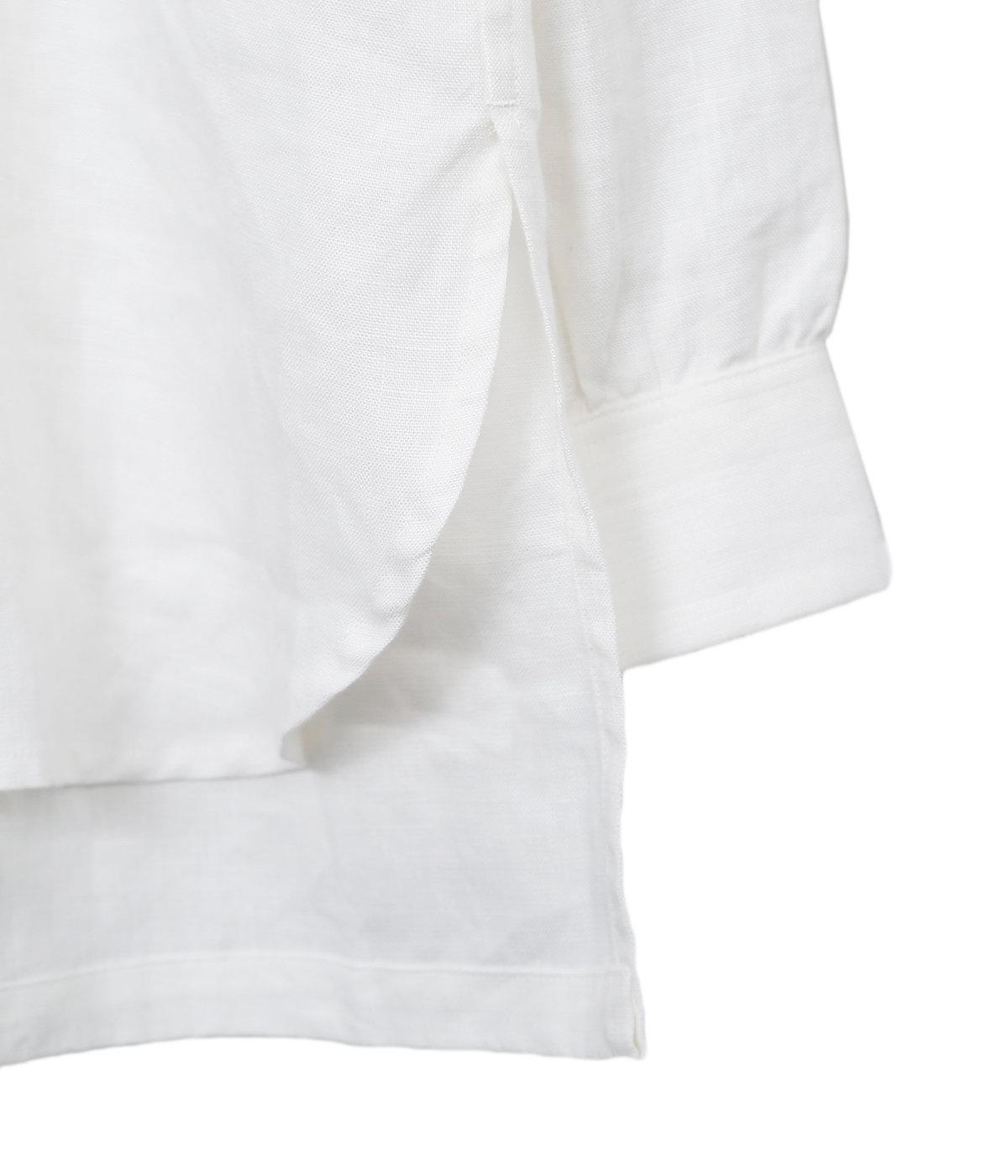 White Linen Gardeners Shirt Mid