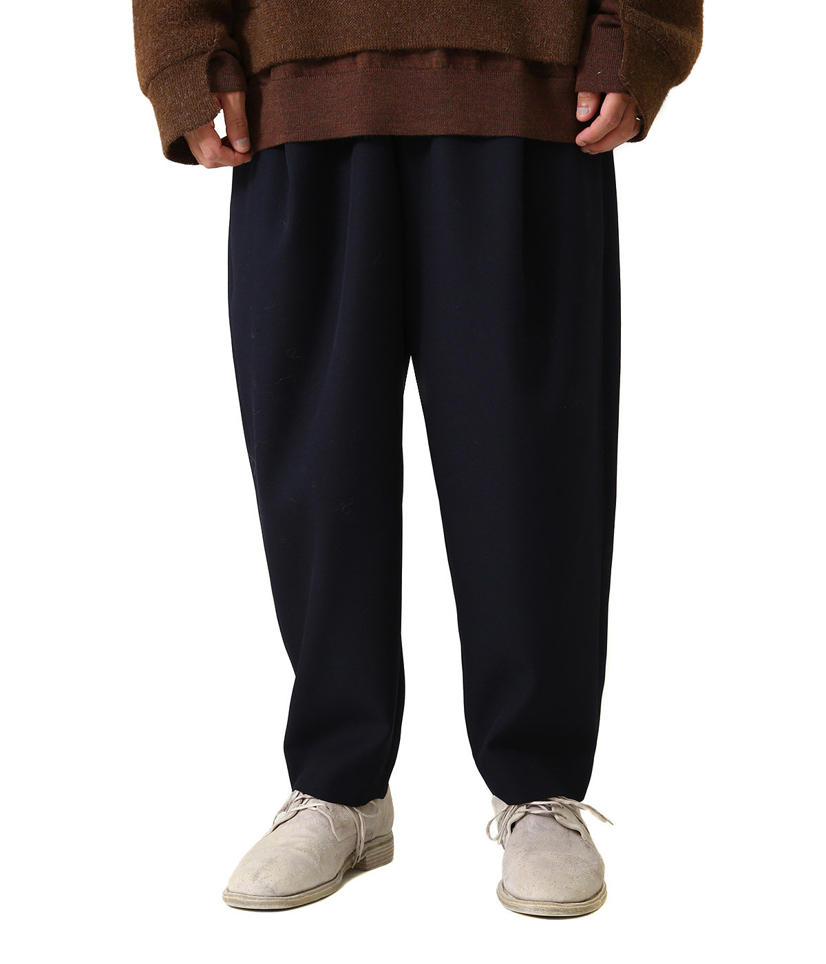 WOOL POLYESTER SERGE / 1 TUCK PANTS