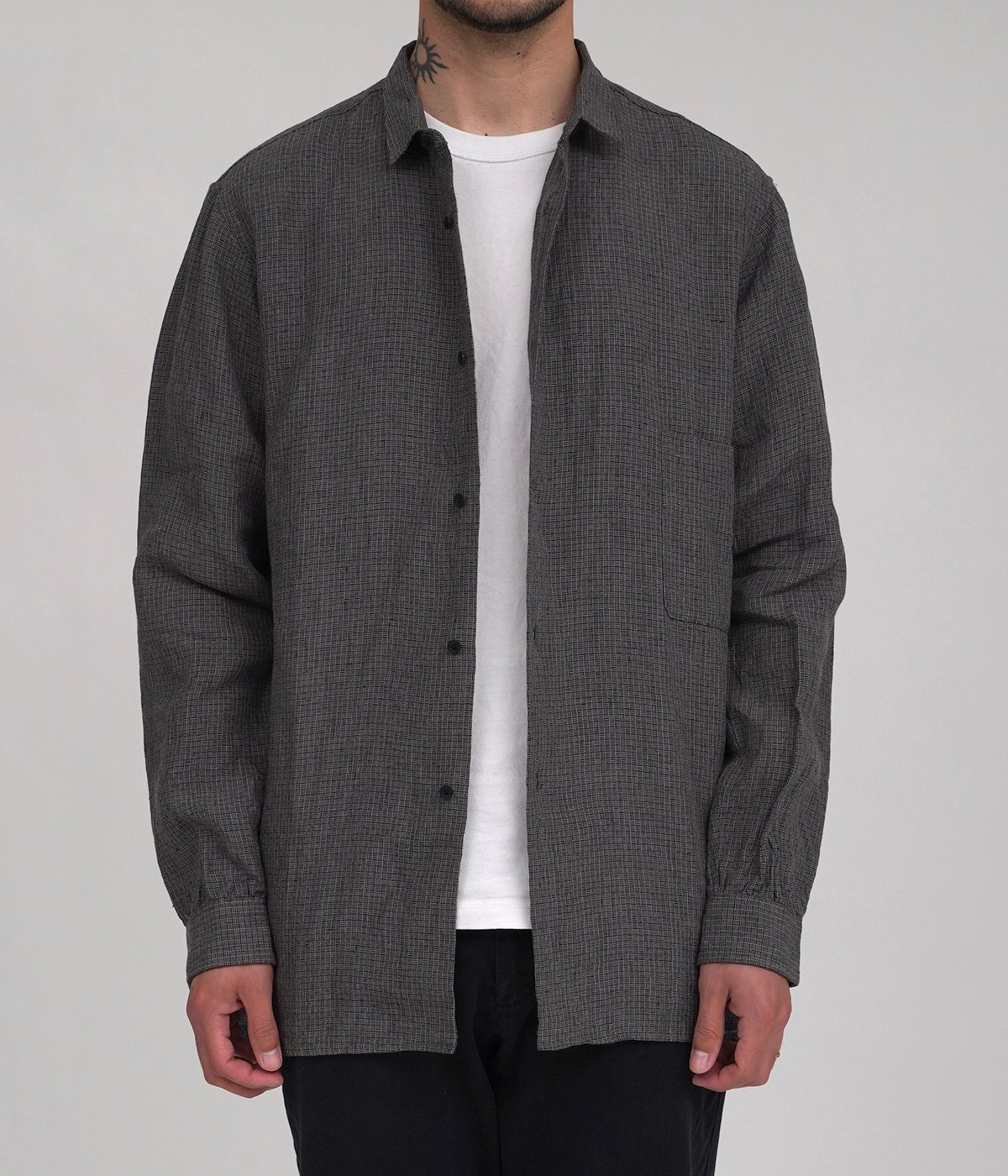 Linen L/Check Gradeners Shirt Mid