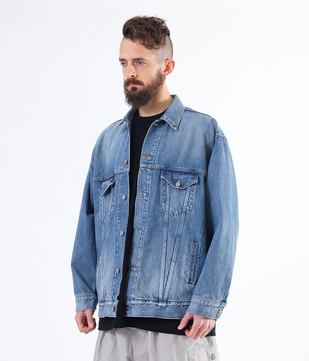 14oz. DENIM TRUCKER JACKET AGED MODEL