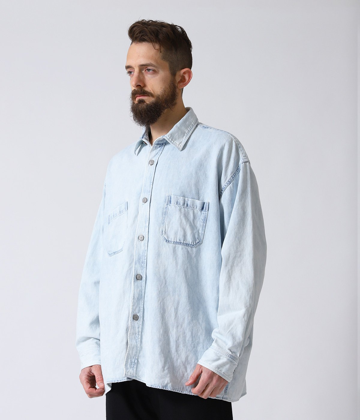 COTTON / LINEN DENIM BIG WORK SHIRT AGED MODEL