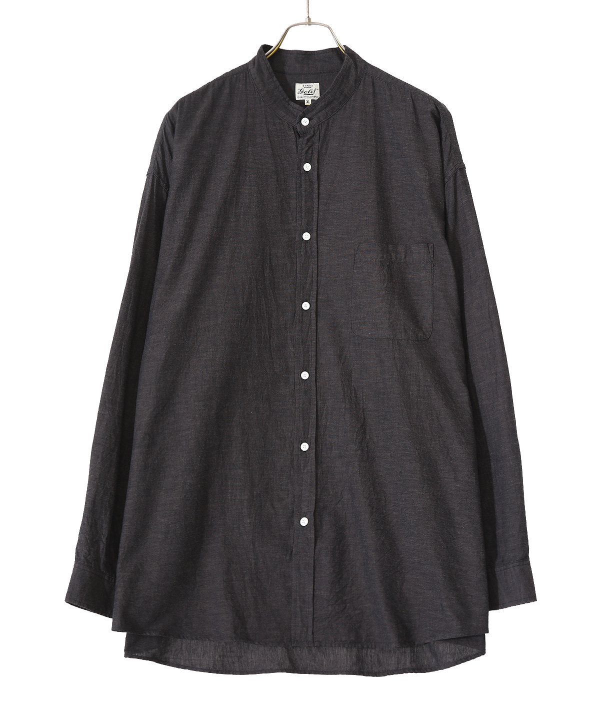 VAT DYE CHAMBRAY BAND COLLAR L/S SHIRT