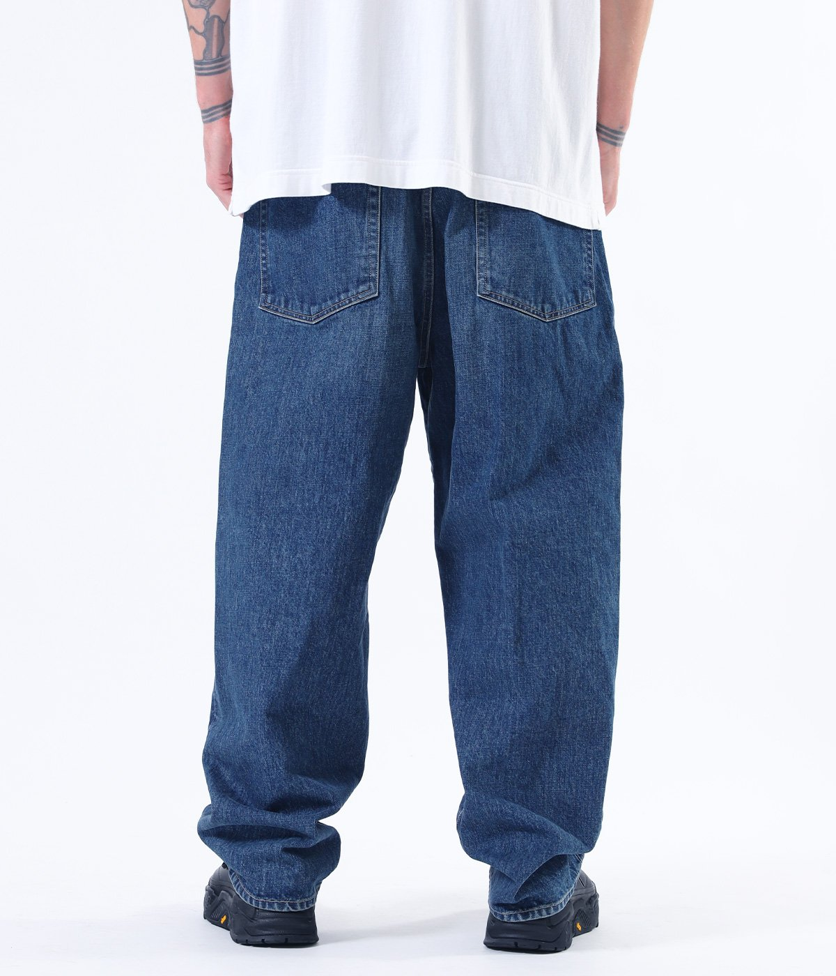 14oz. DENIM 5POCKET WIDE PANTS AGED MODEL