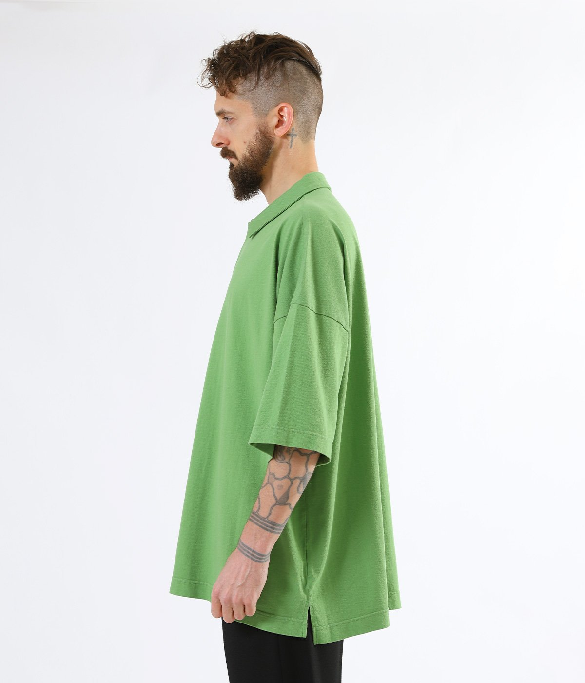 SUVIN COTTON OVER SIZE POLO TEE