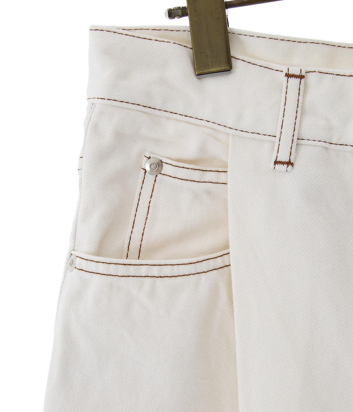 COTTON DENIM / TUCK PANTS - white -