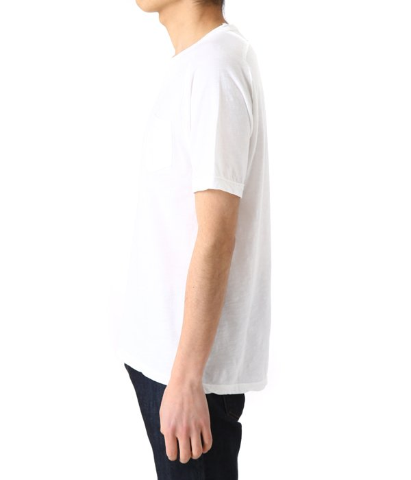 FUM-SS COTTON SLUB RAGLAN REV. SEAM ROLLED EDGE CREW NECK POCKET TEE