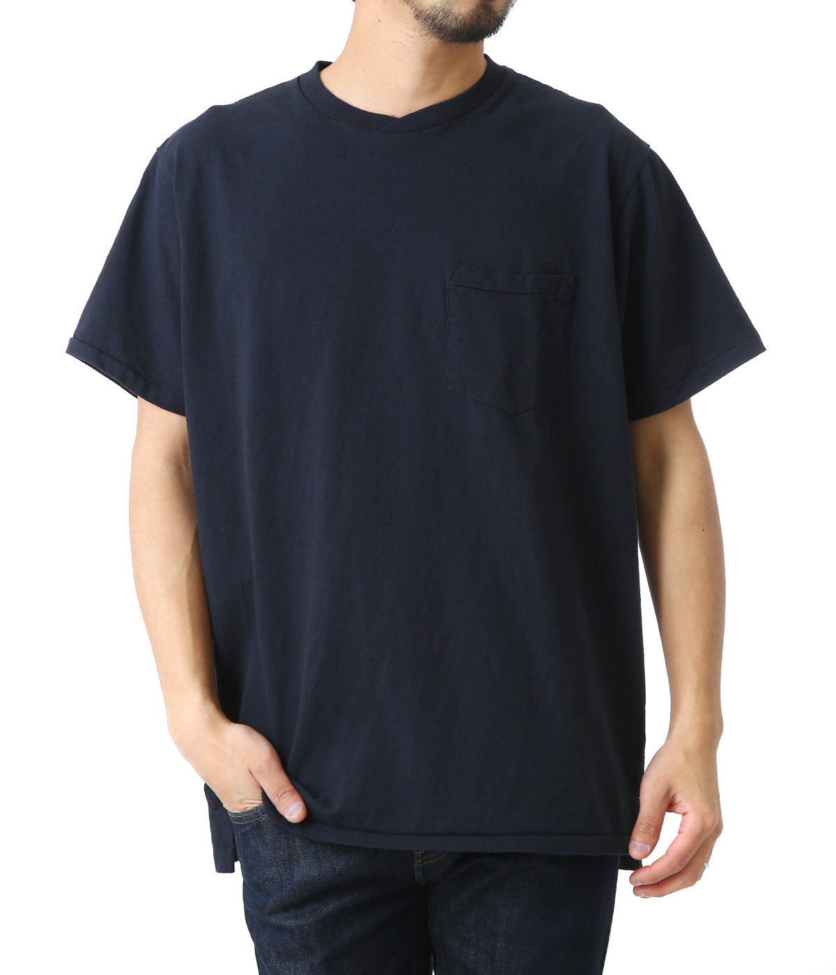 Crossover Neck Pocket Tee