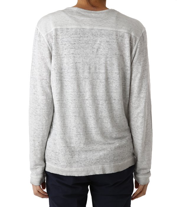 LINEN HENLEY NECK L/S SHIRTS-PEARL GREY-