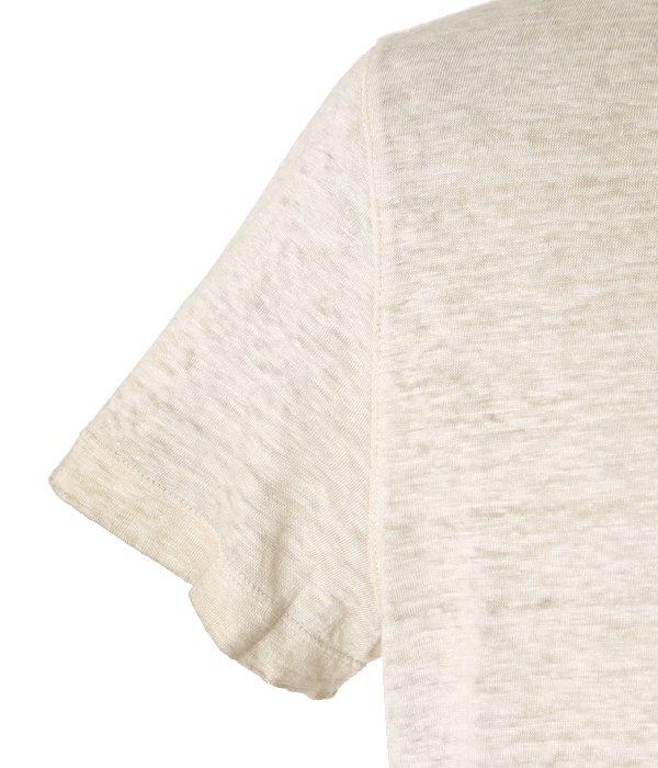 LINEN CREW NECK T-SHIRTS-CREAM-