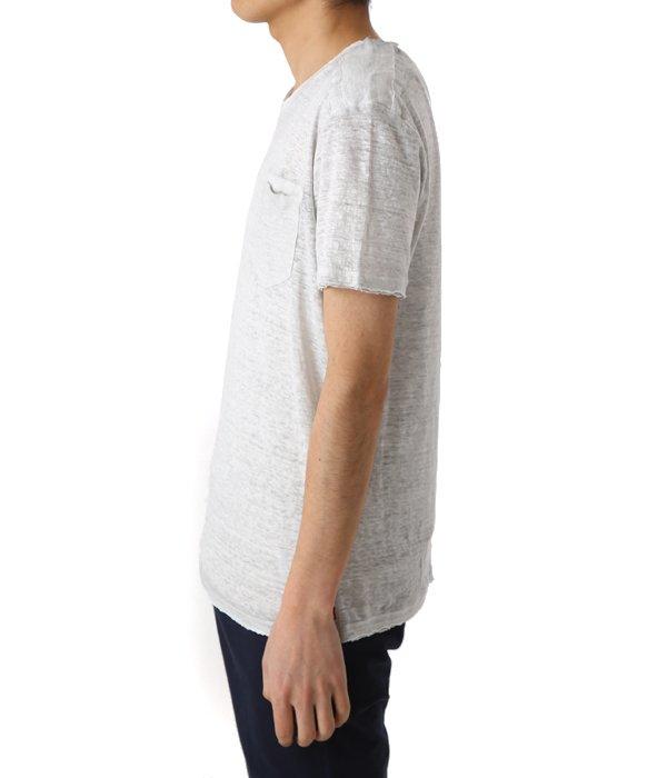 LINEN POCKET T-SHIRTS-PEARL GREY-