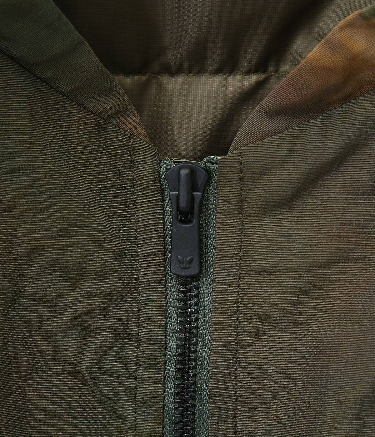 Stand Collar Down Sur Coat - Nylon Tussore / Uneven Dye