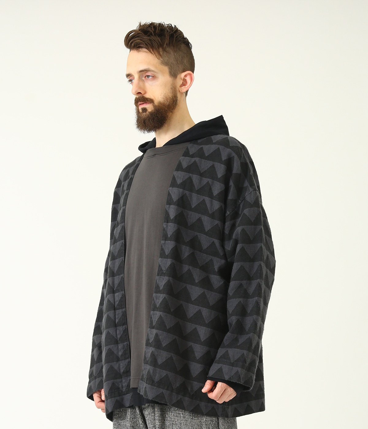 LINEN HERRINGBONE MOUNTAIN RANGE MOTIF NO COLLAR CARDIGAN