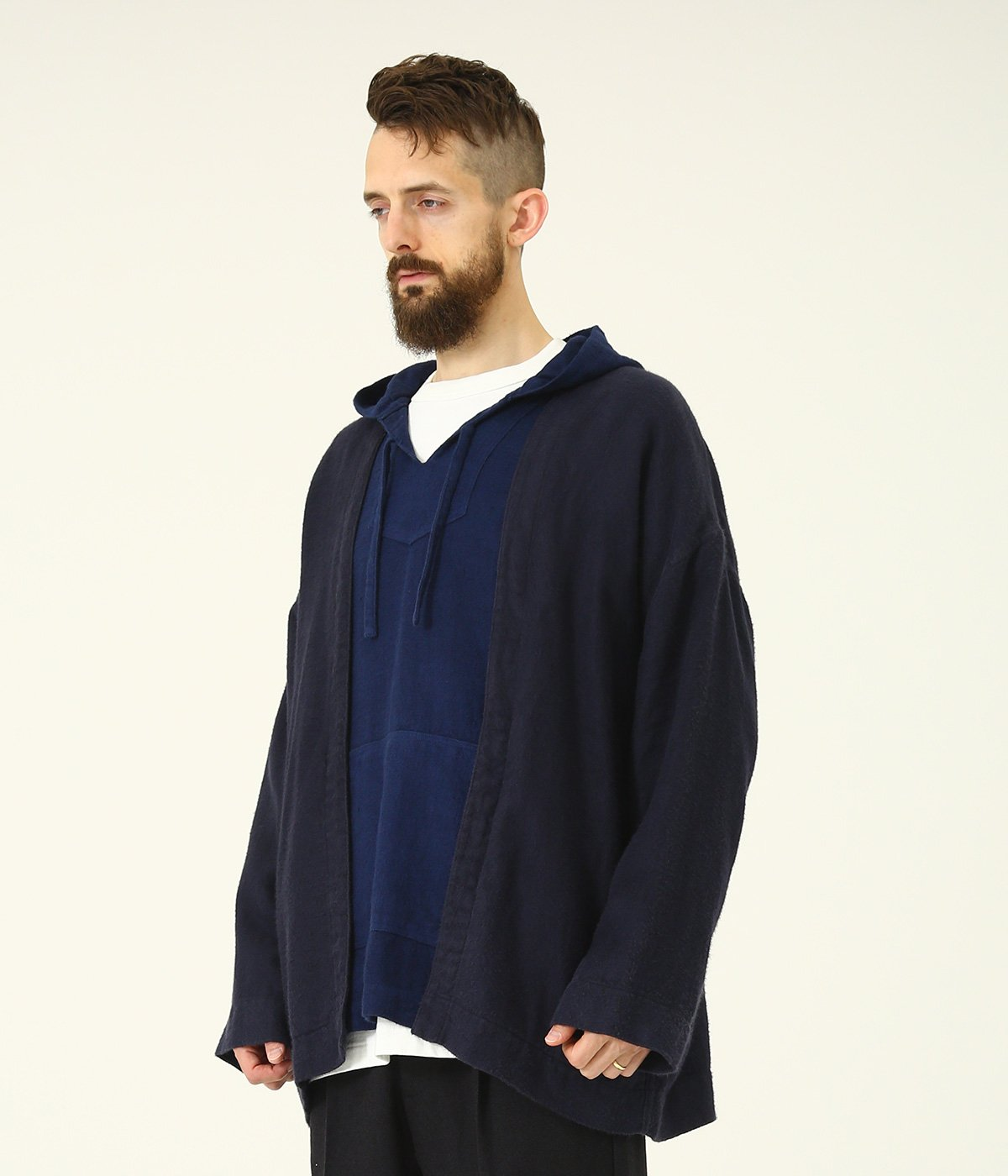 LINEN HERRINGBONE NO COLLAR CARDIGAN