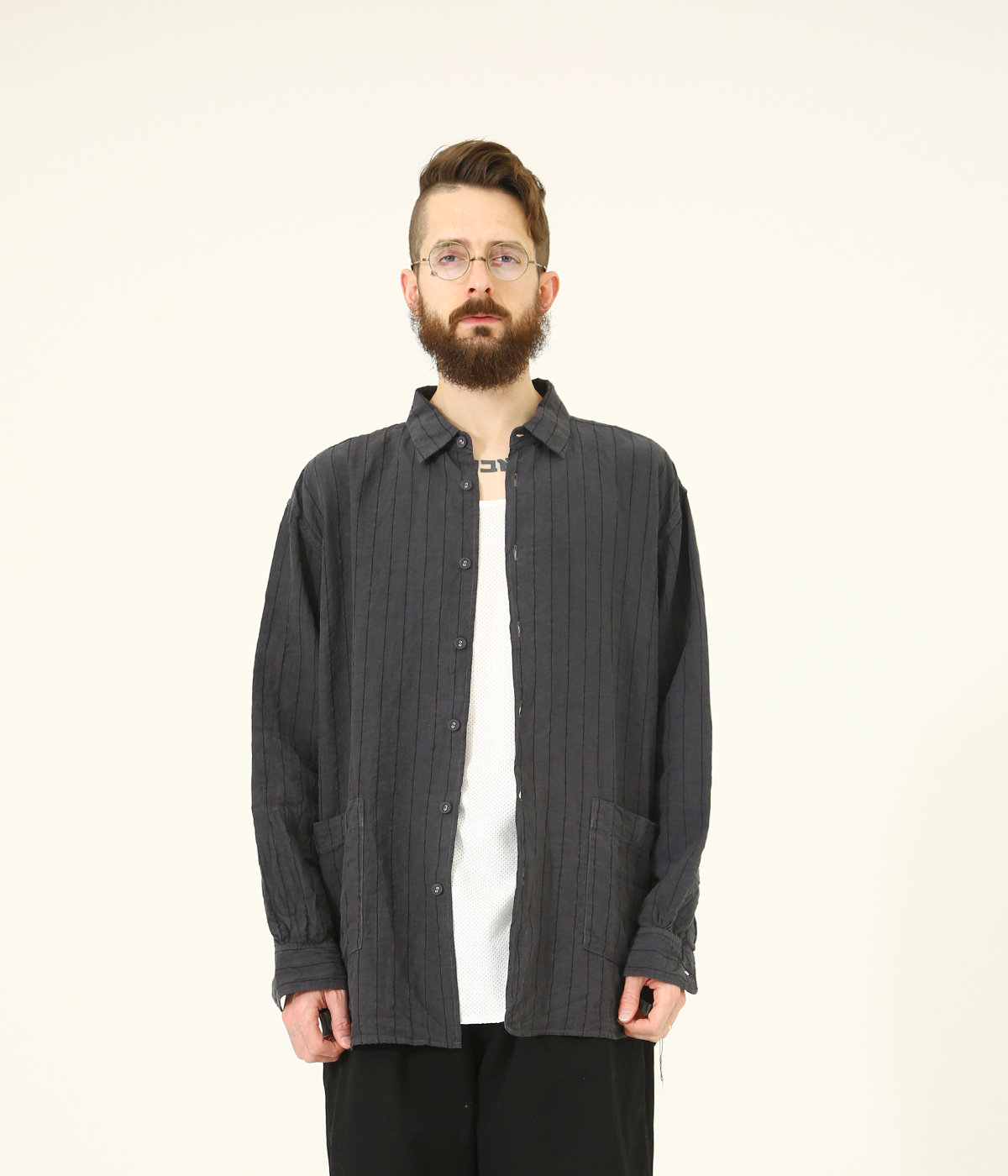 LINEN BROAD STRIPE REGULAR COLLAR BIG SHIRT