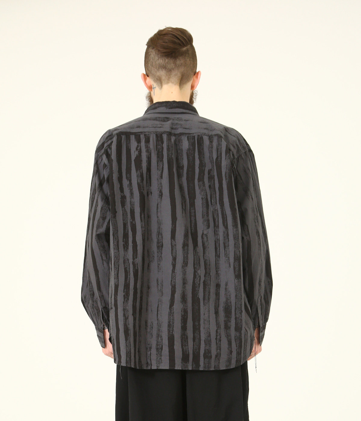 BRUSH STRIPES BROAD REGULAR COLLAR BIG SHIRT