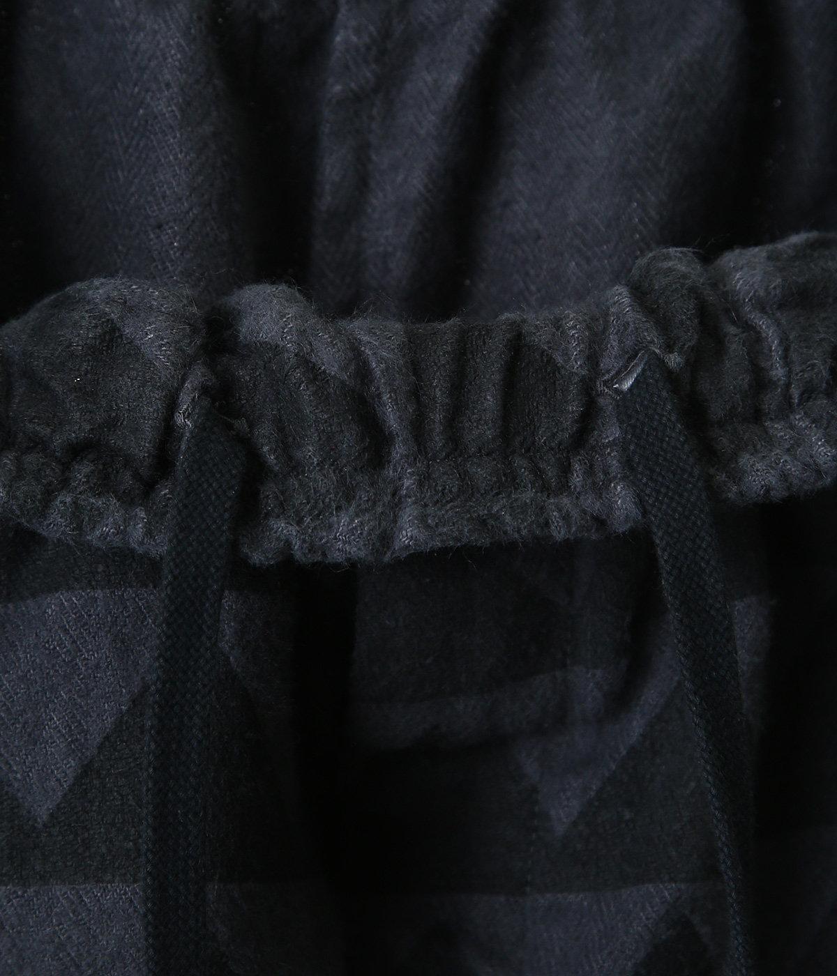 LINEN HERRINGBONE MOUNTAIN RANGE MOTIF EASY PANTS