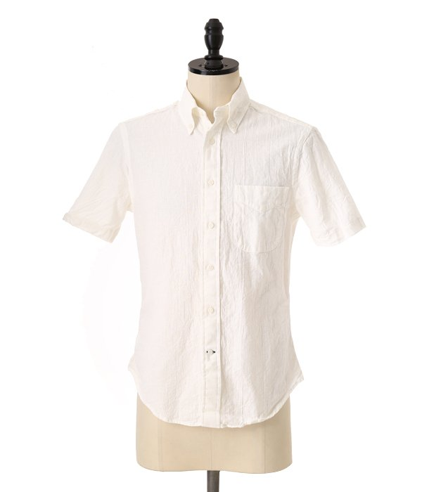 VINTAGE BUTTON DOWN SHORT SLEEVE SHIRTS (Japanese Natural Linen)