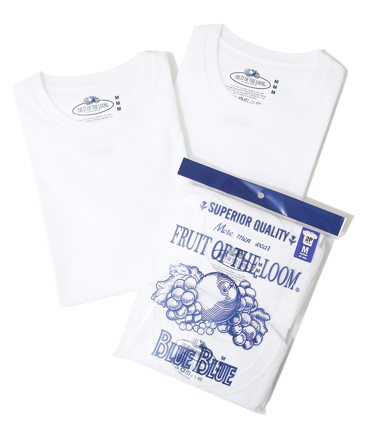 FRUIT OF THE LOOM BLUEBLUE SUPERIOR 2PK SS T