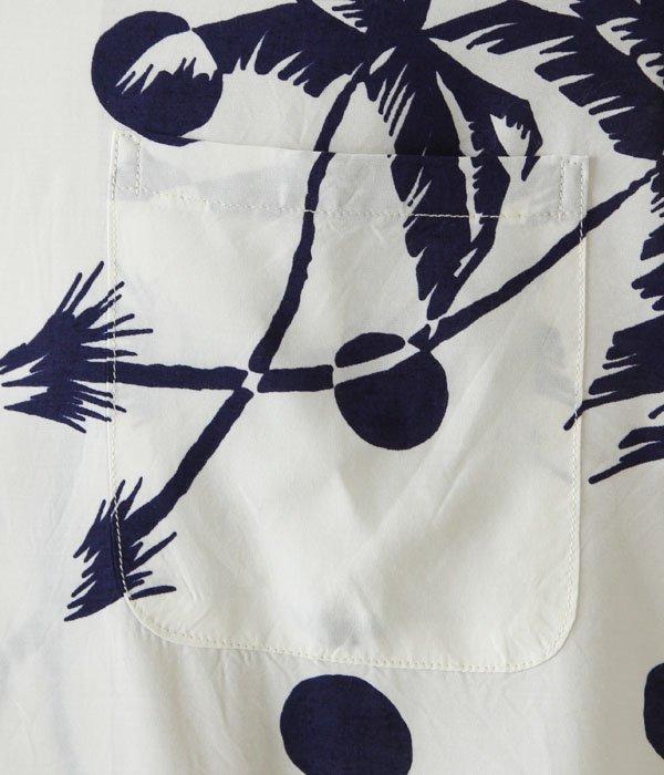 """S/S RAYON HAWAIIAN SHIRT """"MOONLIGHT PLAM TREE"""""""
