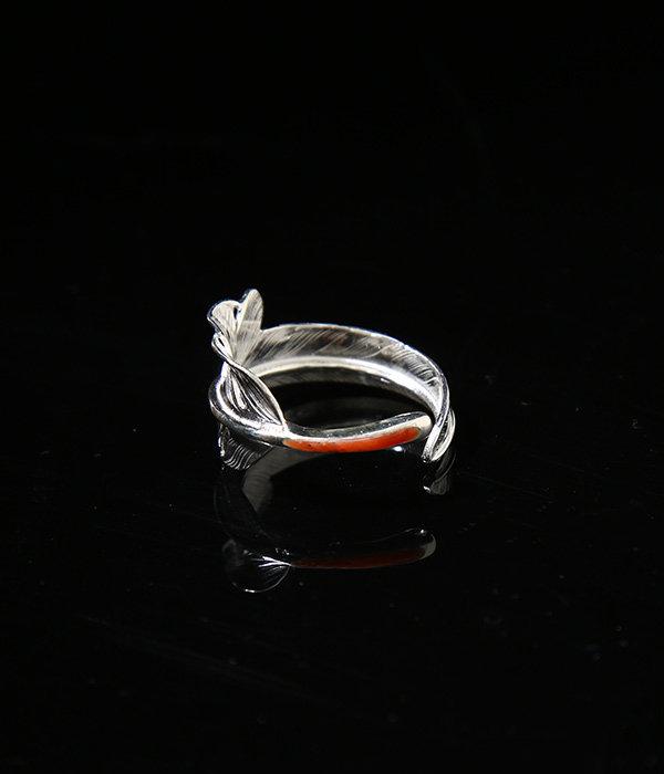 KAZEKIRI FEATHER RING -RED COARAL-