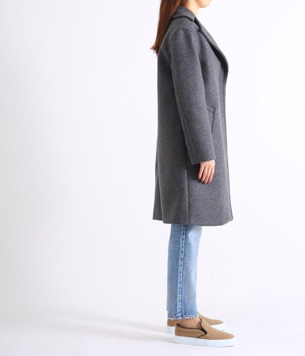 【レディース】ナポレオンカラーウールコート-GREY