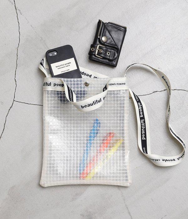 plaid vinyl logo tape sacoshe bag