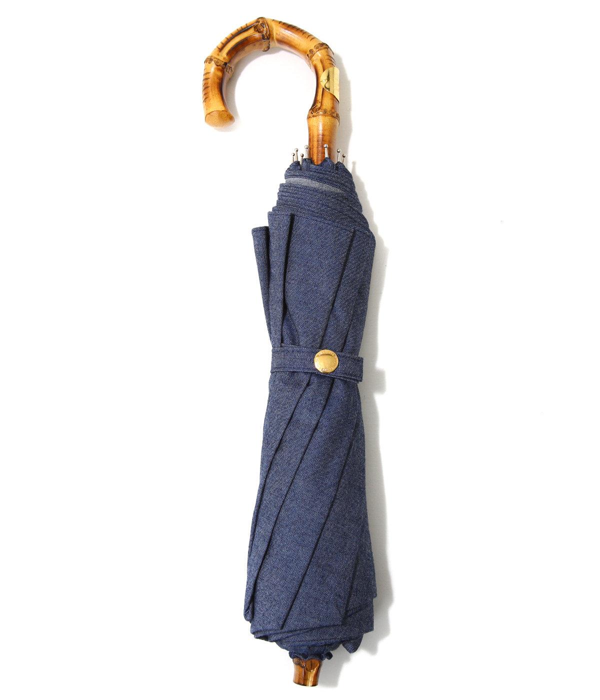 【レディース】FOLDING BAMBOO GLDーBLUー / 折りたたみ傘