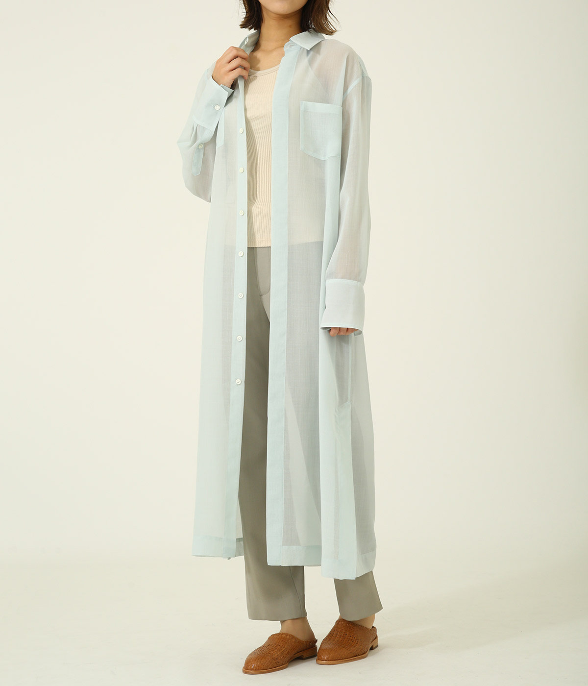 【レディース】WOOL POLYESTER SHEER CLOTH SHIRTS ONE-PIECE