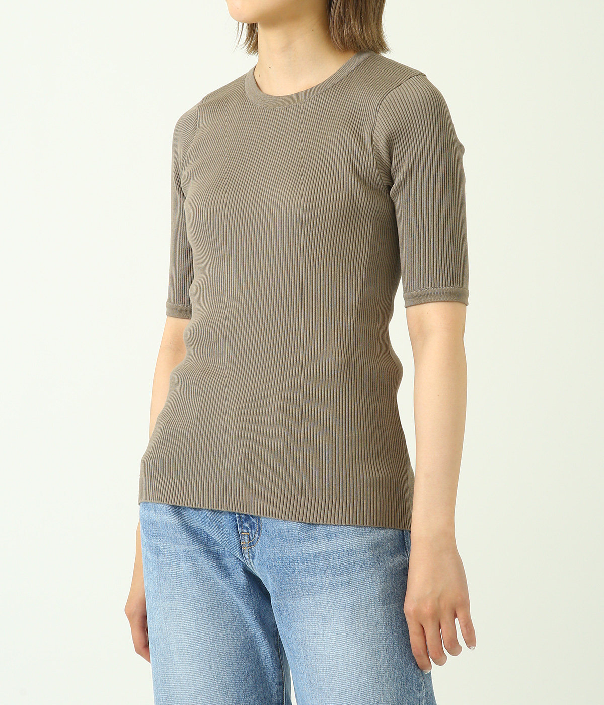 【レディース】HIGH GAUGE RIB KNIT TEE