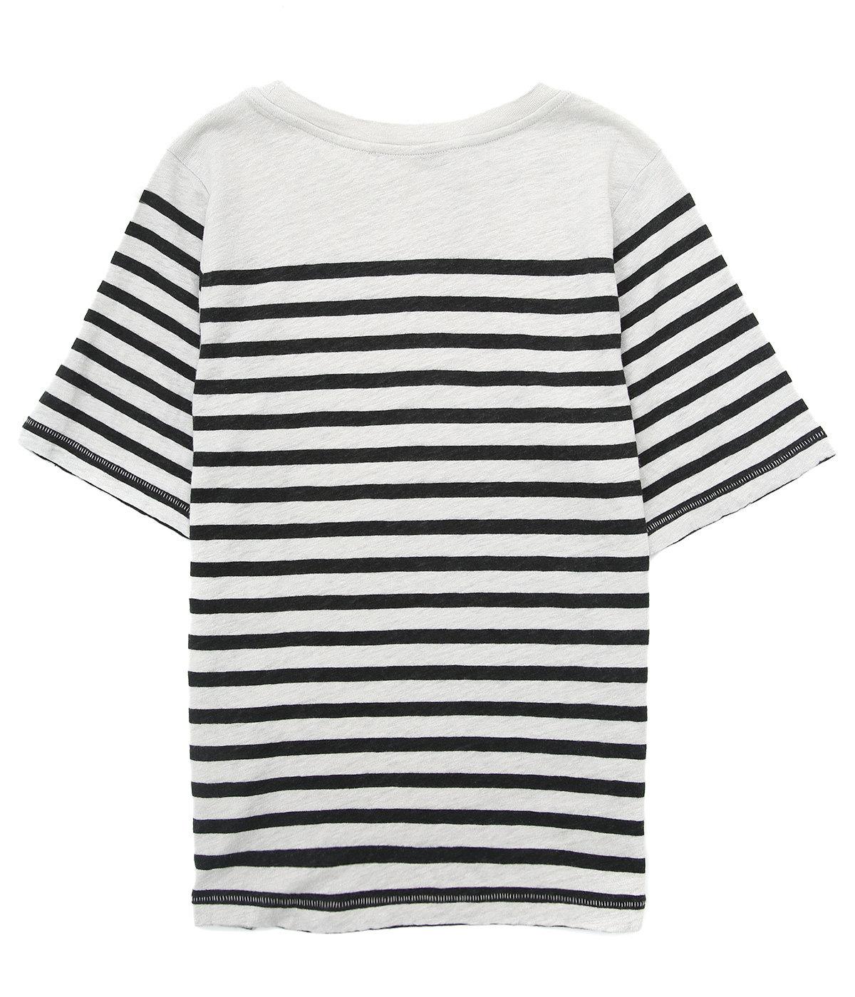 【レディース】Megalin Linen Stripe-Bright Green/Dark Green-(T-shirts)
