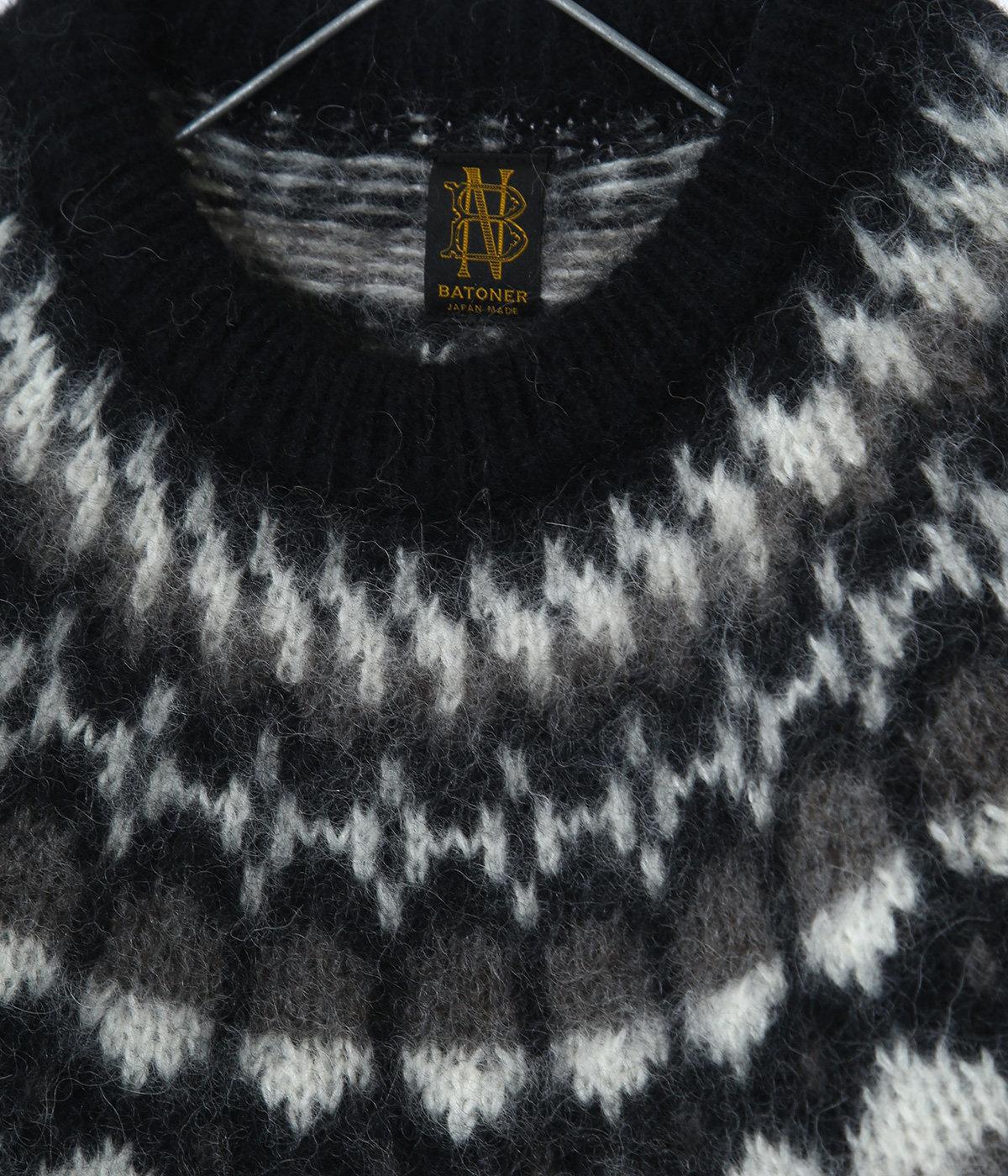 【レディース】MOHAIR NORDIC CREW NECK-BLACK-