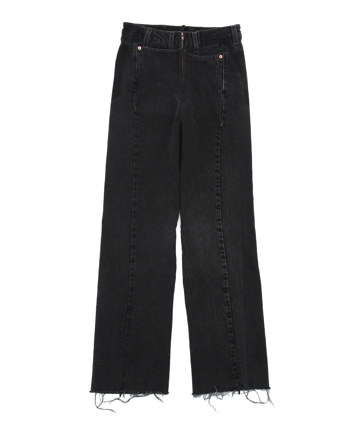 【レディース】【ONLY ARK】別注 circa make cut off rotated 90° denim pants(length 105) -28inch-