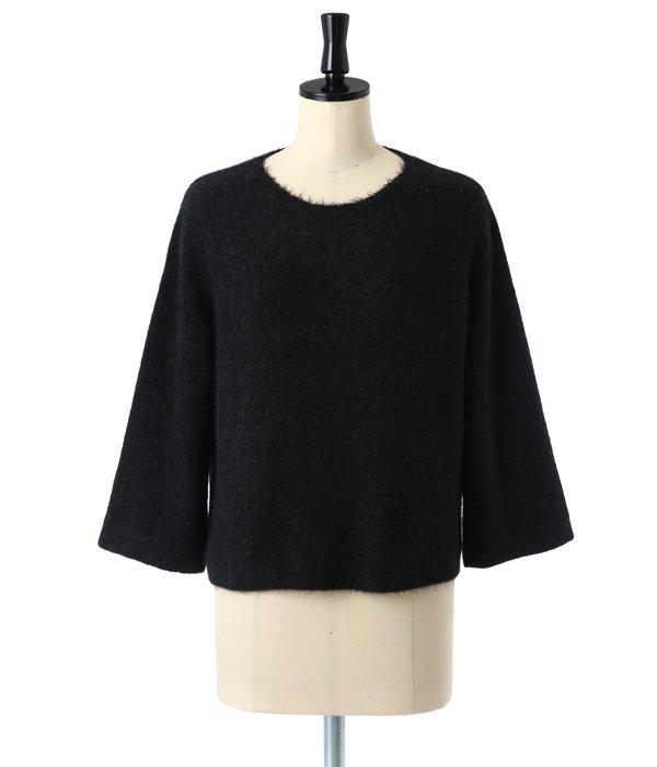 【レディース】cropped boxy pullover with frayed neckline