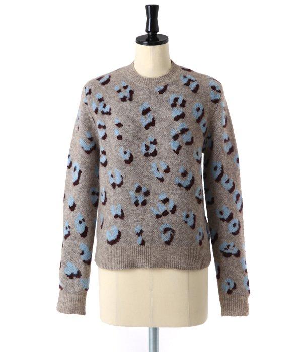 【レディース】longsleeve crewneck pullover in leopard jacquard