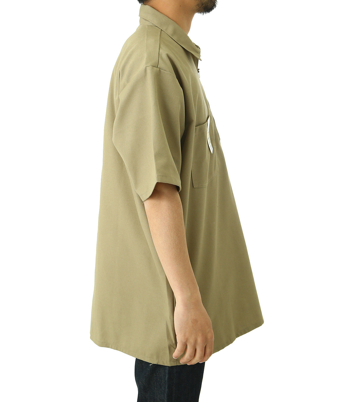 SOLID HALF ZIP S/S SHIRTS