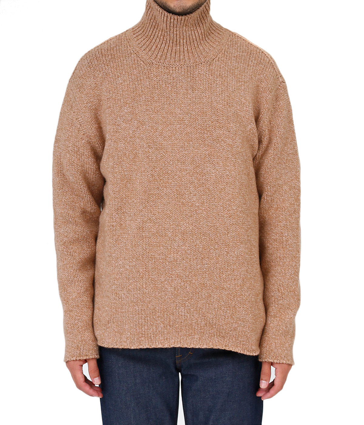 CAMEL WOOL MIX KNIT TURTLE NECK P/O