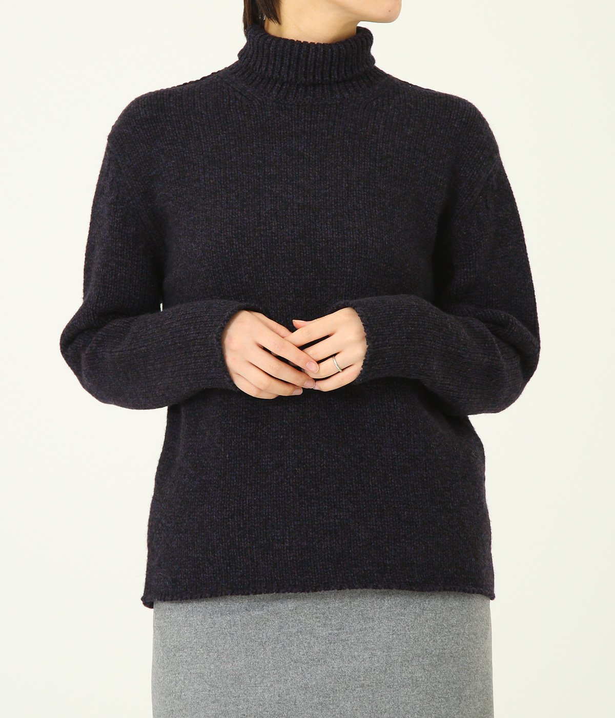 【レディース】CAMEL WOOL MIX KNIT TURTLE NECK P/O