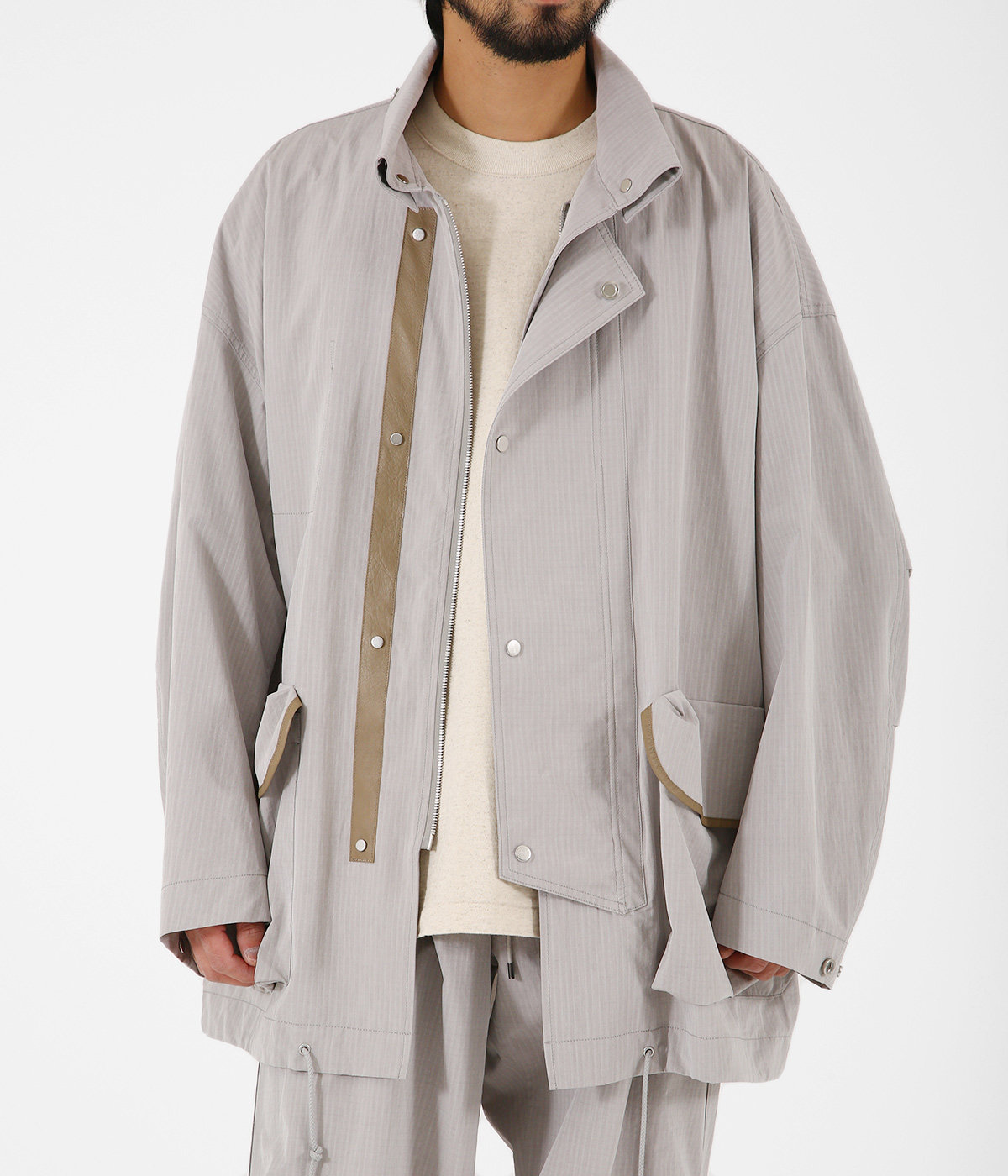 WASHED FINX RIPSTOP CHAMBRAY BIG FIELD BLOUSON