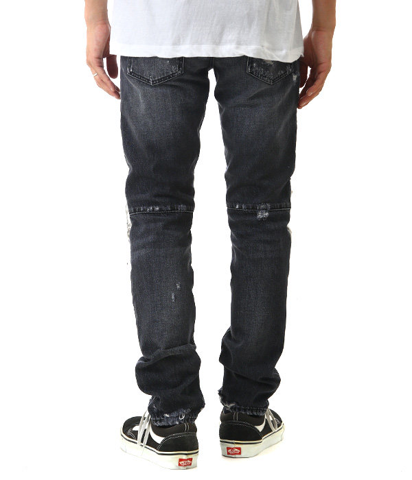 LIGHT WASH SKULL BIKER JEANS