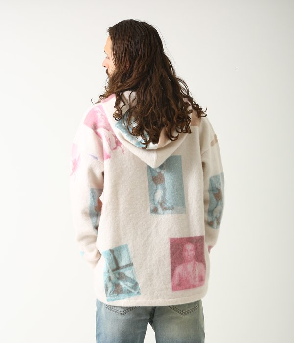PRINTED FELTED OVERSIZED PARKA