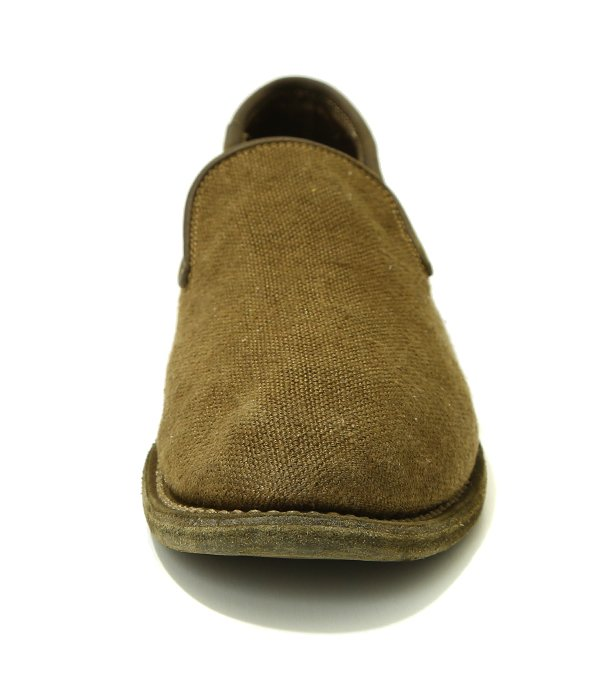 SLIP ON SOLE LEATHER -OLIVE-