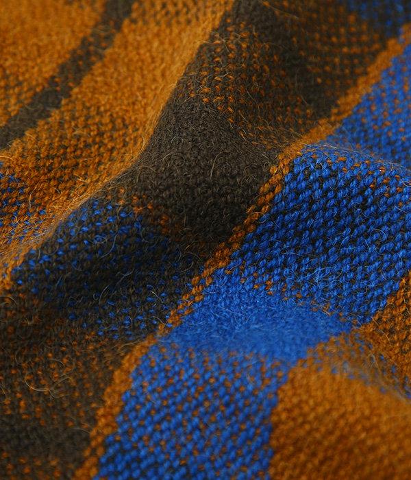 Gobi Plaid Scarf-Golden Brown + Earth Green + Altai Blue-