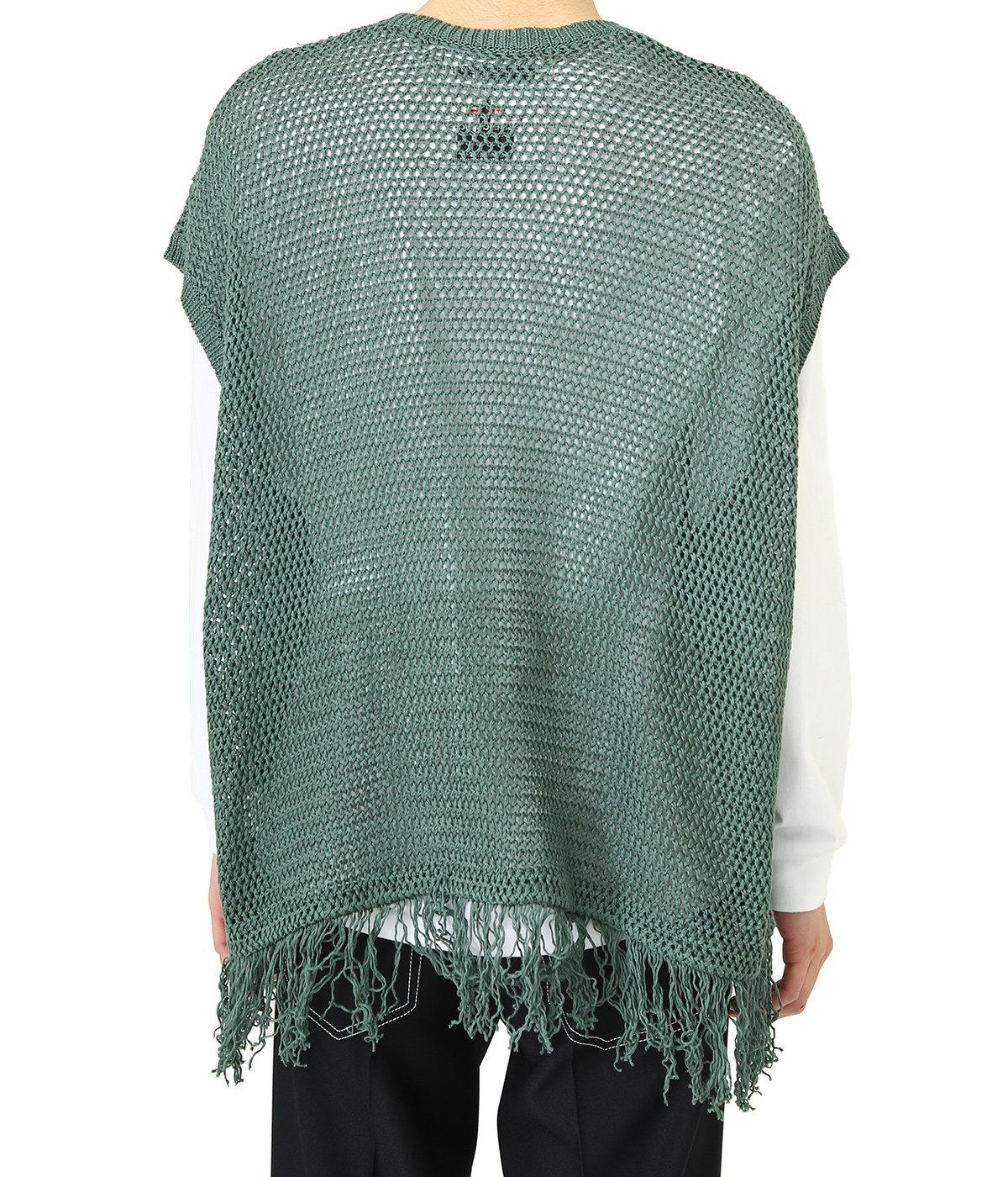Pullover Fringe Net Knit Vest