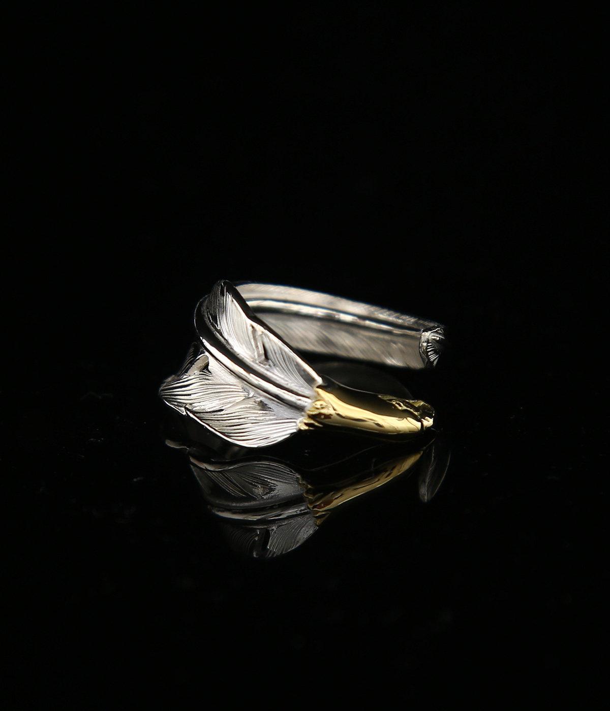 18K EAGLE HEAD KAZEKIRI PINKIE RING
